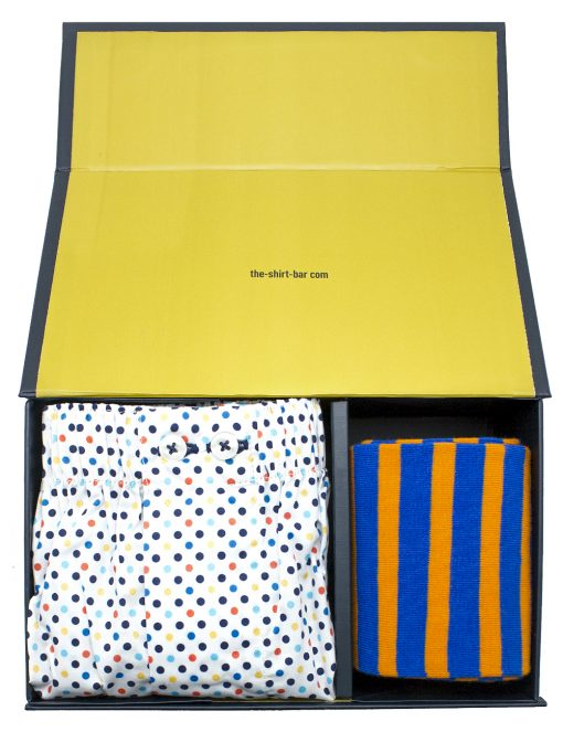 Multi Colour Boxer Shorts and Orange Socks Gift - SOCBXGS4.1