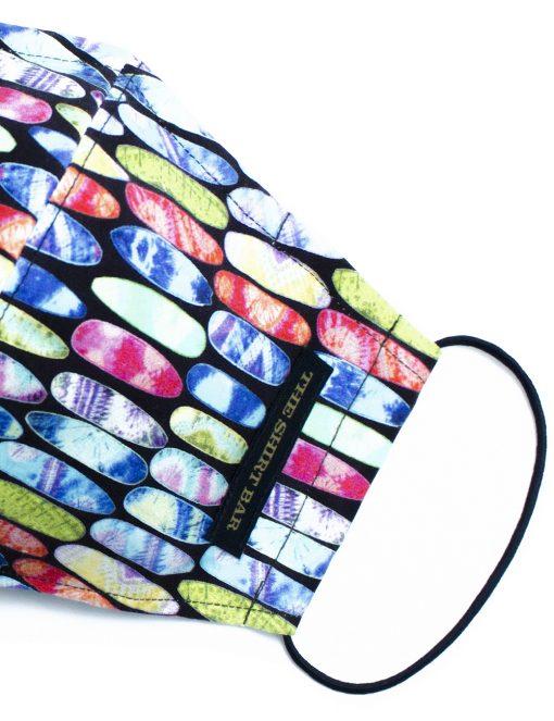 Multi Colour Surfboard Print Reusable Mask with Pouch - FM48.1