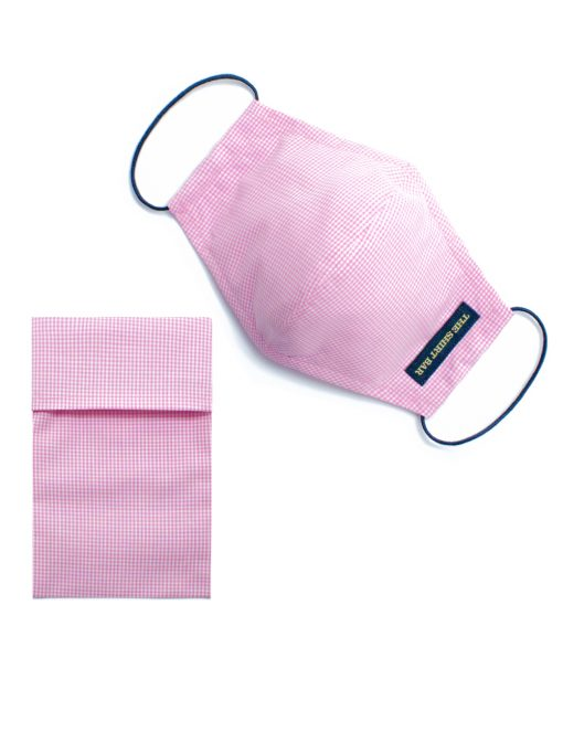 Pink Checks Reusable Face Mask with Pouch & Embroidery - FM50.1