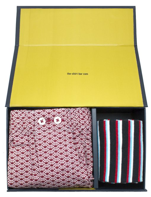 Red Merlion Inspired Boxer Shorts and Blue Socks Gift Set - SOCBXGS3.1