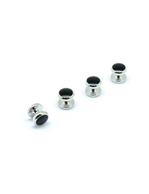 Black Enamel in Silver Tuxedo Studs Set - S111FE-006