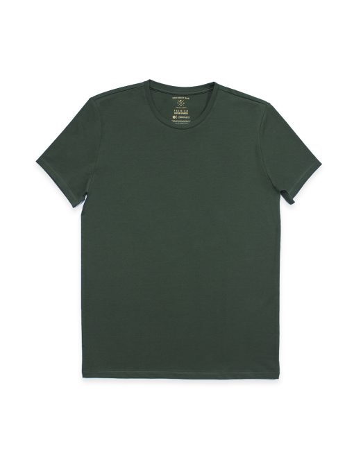 Slim Fit Forest Green Premium Cotton Stretch Crew Neck T-Shirt - TS1A4.2
