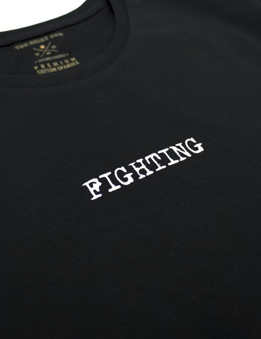"Slim Fit Black Premium Cotton Stretch ""Fighting"" Crew Neck T-Shirt - TS4A4.2"