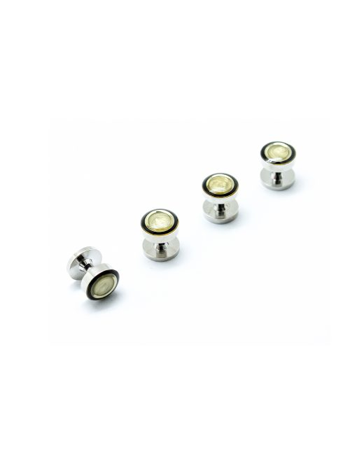 Yellow Swirl with Black Circle Enamel in Silver Tuxedo Studs Set - S111FE-001