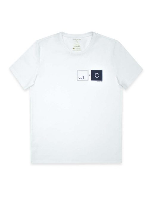 """Daddy & Me"" Series - ""CTRL+C"" Premium Cotton Stretch Adults White Crew Neck T-Shirt - TS4J1.2"