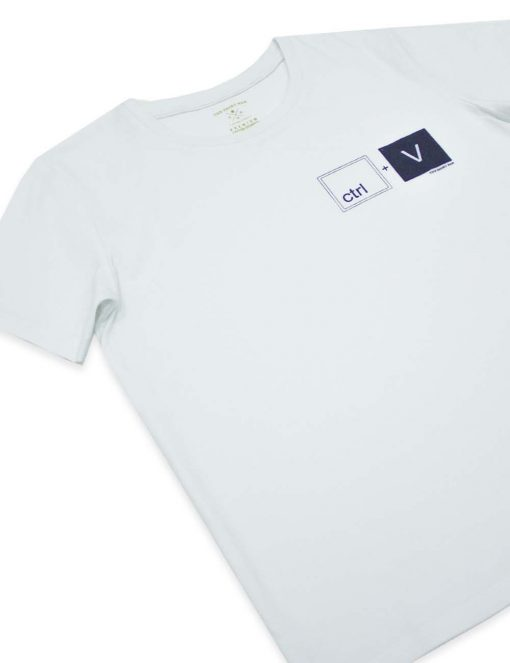 """Daddy & Me"" Series - ""CTRL+V"" Premium Cotton Stretch Kids White Crew Neck T-Shirt – TS4K4.2"