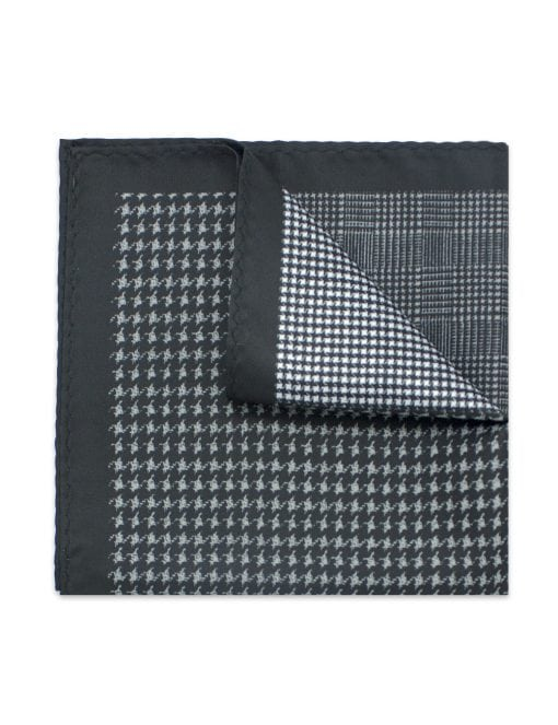 4-in-1 Monochrome Houndstooth, Herringbone & Pinstripe Print Woven Pocket Square - PSQ26.14