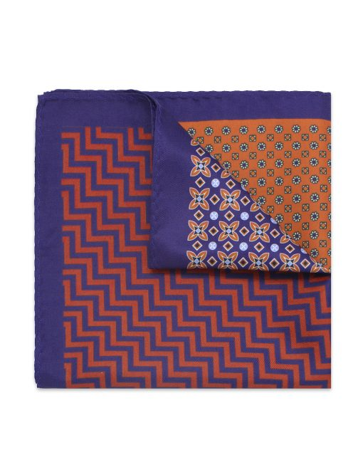 4-in-1 Blue Print Woven Pocket Square PSQ17.14