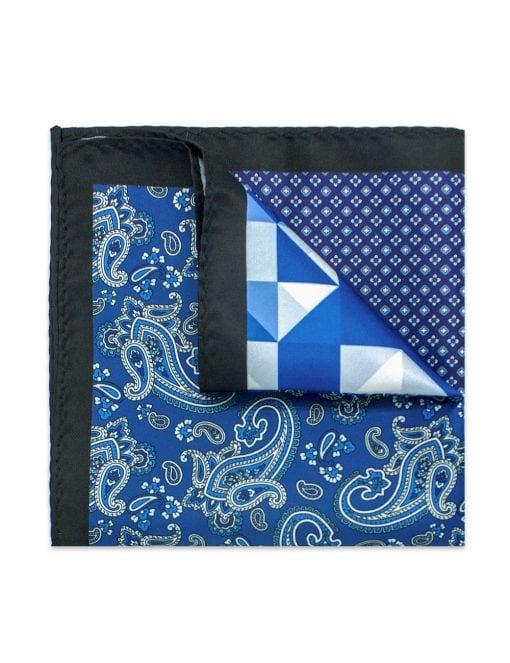 4-in-1 Blue Geometric & Paisley Print Woven Pocket Square - PSQ19.14