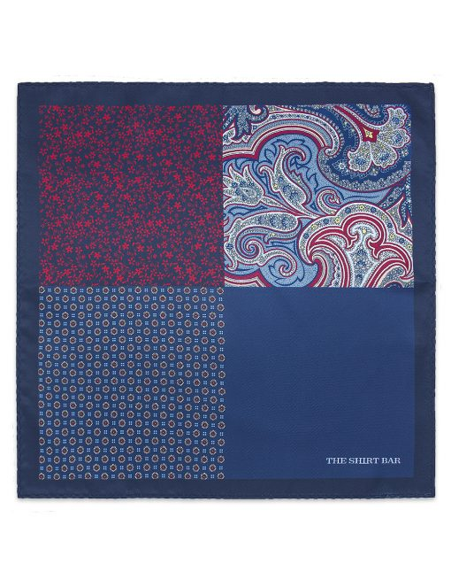4-in-1 Navy Print Woven Pocket Square - PSQ18.14