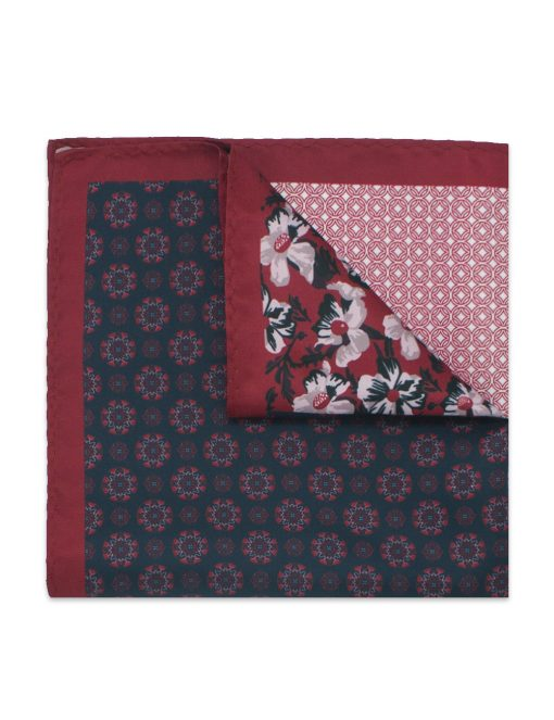 4-in-1 Red Floral & Tile Print Woven Pocket Square - PSQ31.14
