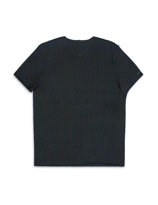 Comfort Fit Black Premium Cotton Stretch Raw Edge Short Sleeve T-shirt - TS2A1.2