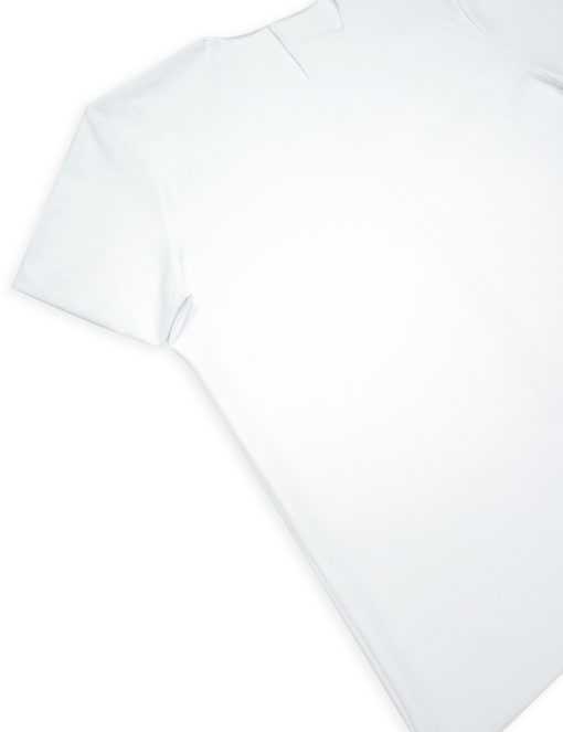 Comfort Fit White Premium Cotton Stretch Raw Edge Short Sleeve T-shirt - TS2A2.2