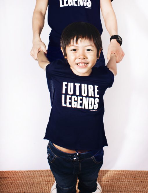 Daddy & Me Raising Future Legends Navy T-shirts focus on kids