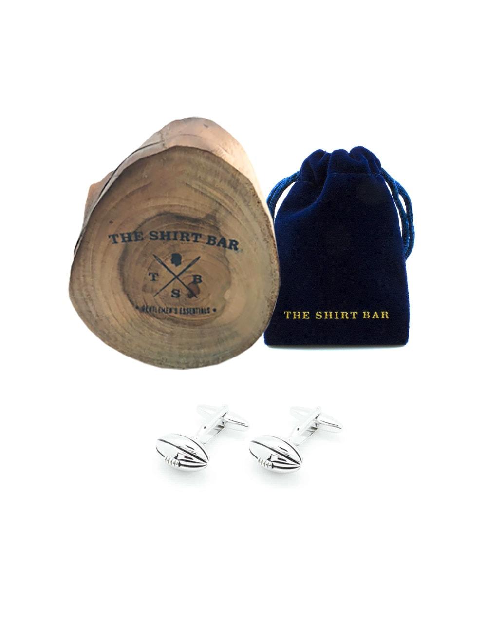 Silver Rugby Ball Cufflink
