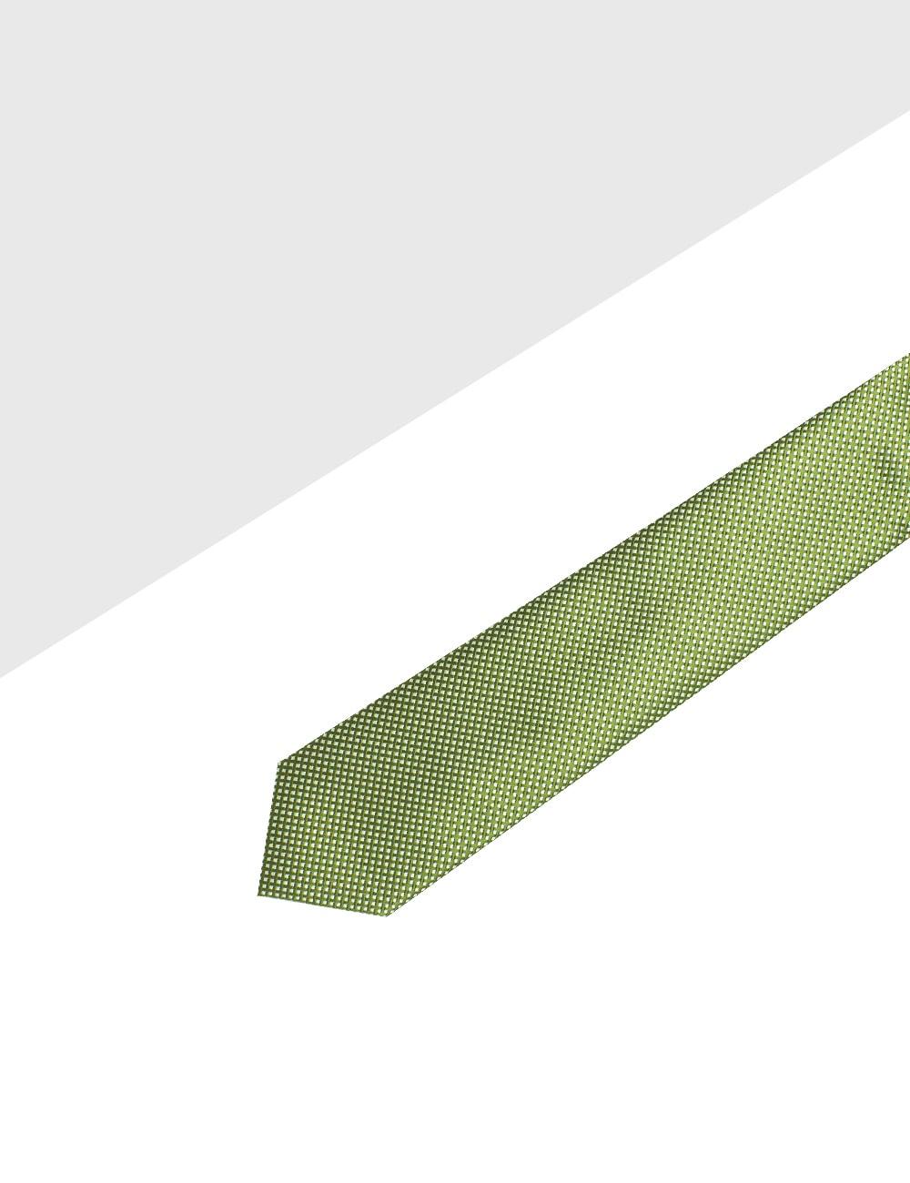 Tea Green with White Mini Checks Woven Necktie - NT47.4