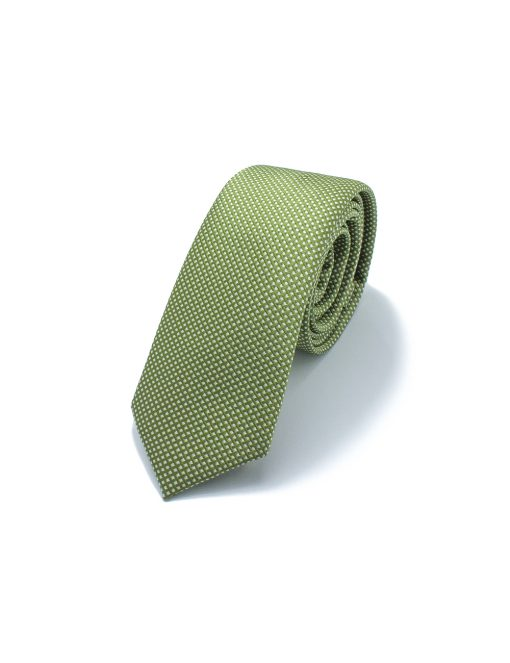 Tea Green with White Mini Checks Woven Necktie - NT47.4
