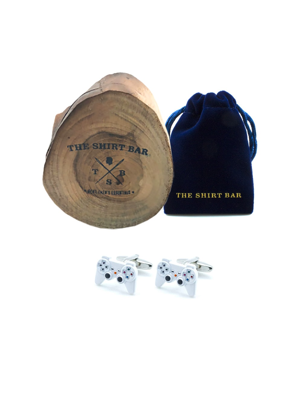 White Game Console 2 Cufflink