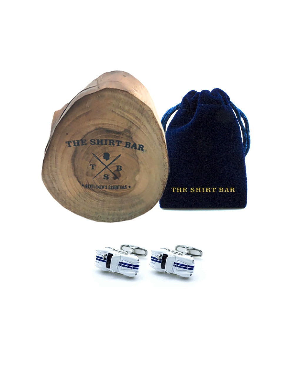 White Vintage Topless Car with Navy Stripes Cufflink