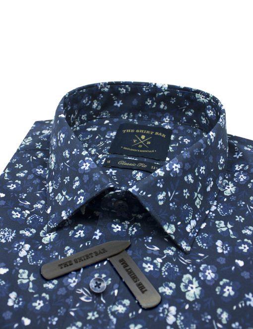 Navy Floral Print Modern / Classic Fit Long Sleeve Shirt – CF2A7.18