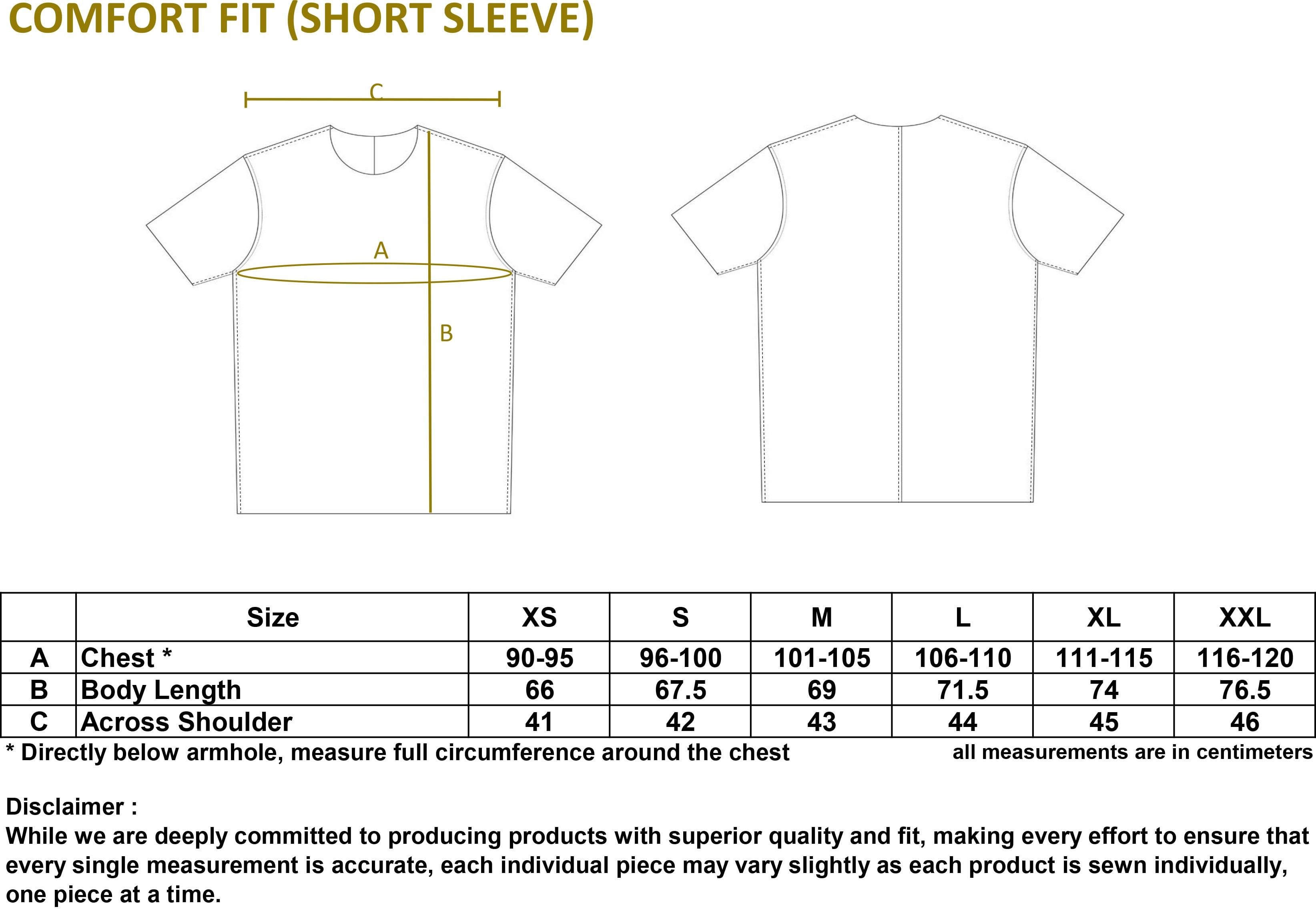Cotton Spandex T-shirt Size Guide (Comfort Fit - Short Sleeve)
