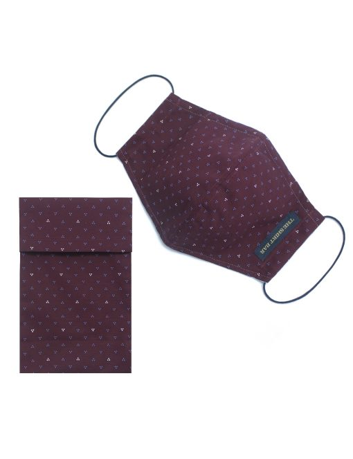 Maroon Printed Reusable Mask with Pouch - FM56.1