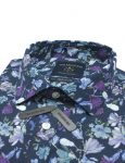 Navy Floral SG Inspired Print Slim / Tailored Fit Long Sleeve Shirt - TF2A4.18