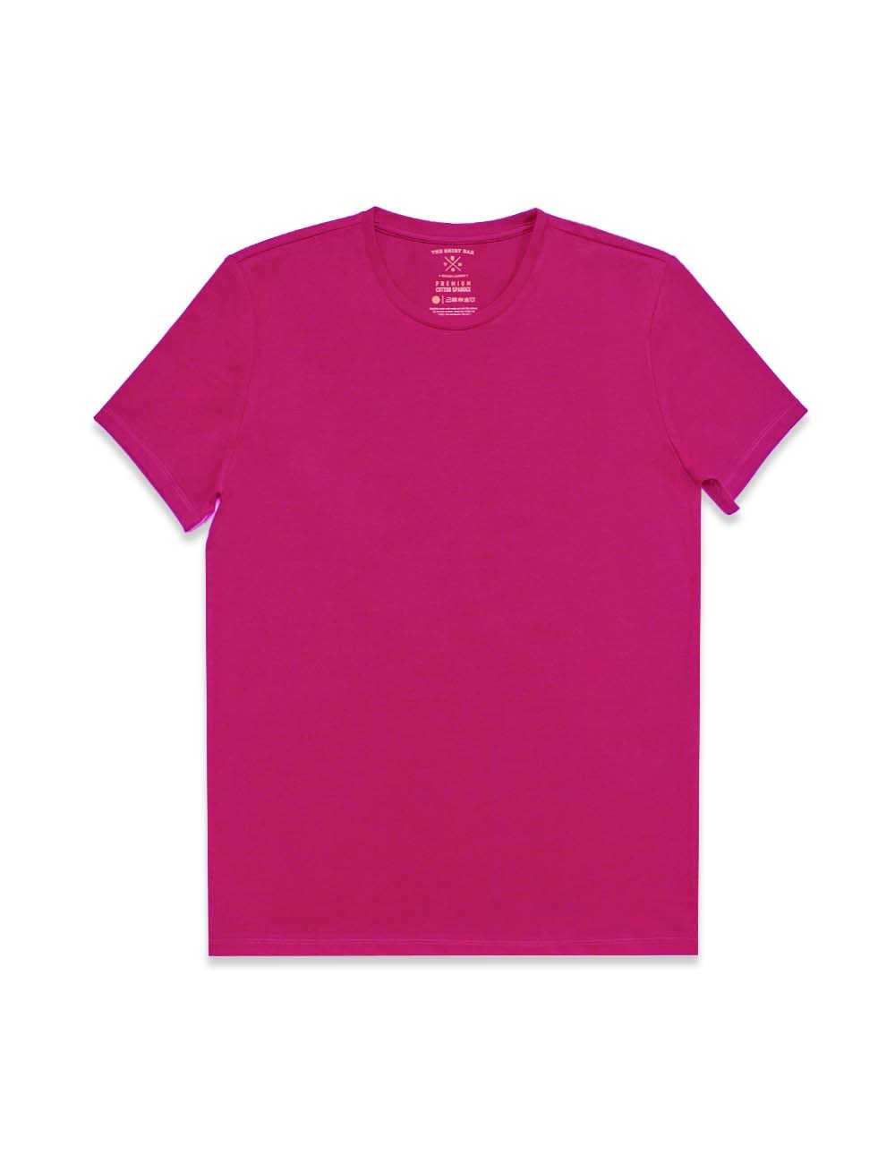 Slim Fit Pink Premium Cotton Stretch Crew Neck T-Shirt TS1A6.3
