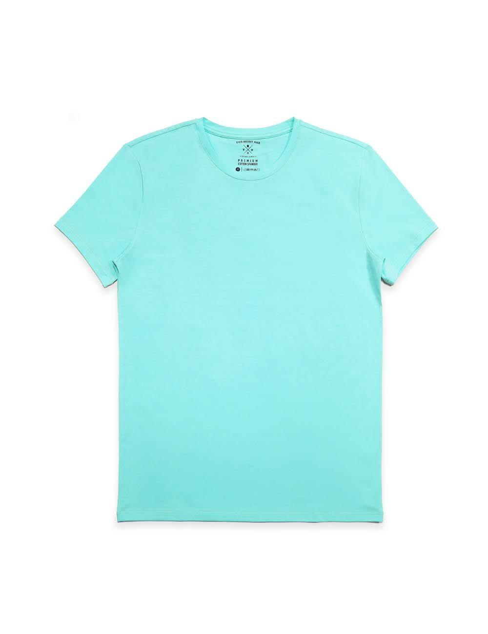 Slim Fit Turquoise Premium Cotton Stretch Crew Neck T-Shirt TS1A5.3