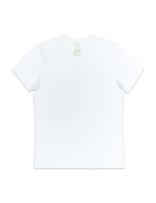 Slim Fit White Premium Cotton Stretch V Neck T-Shirt TS3A1.3