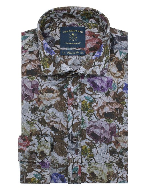 Brown 'In Bloom' Floral Print Italian Fabric Slim / Tailored Fit Long Sleeve Shirt – TF1A8.18