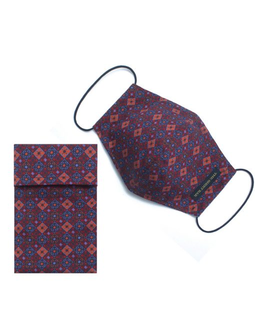 Red Peranakan Tiles Inspired Reusable Mask with Pouch - FM58.1