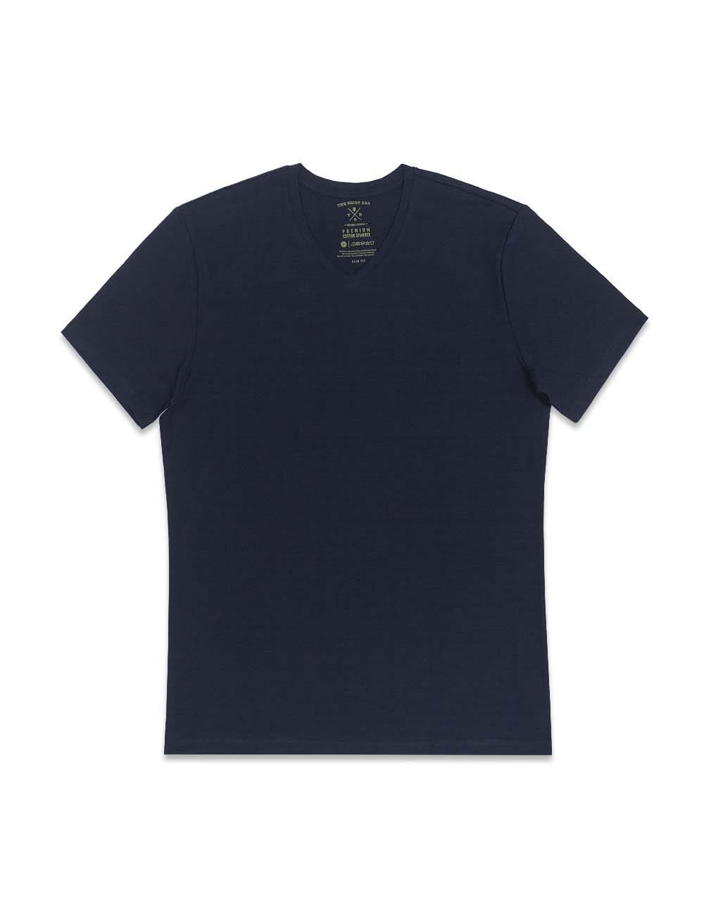 Navy Premium Cotton Stretch V Neck Slim Fit T-Shirt – TS3A3.3