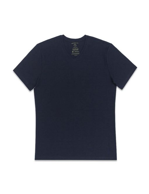 Navy Premium Cotton Stretch V Neck Slim Fit T-Shirt – TS3A3.3