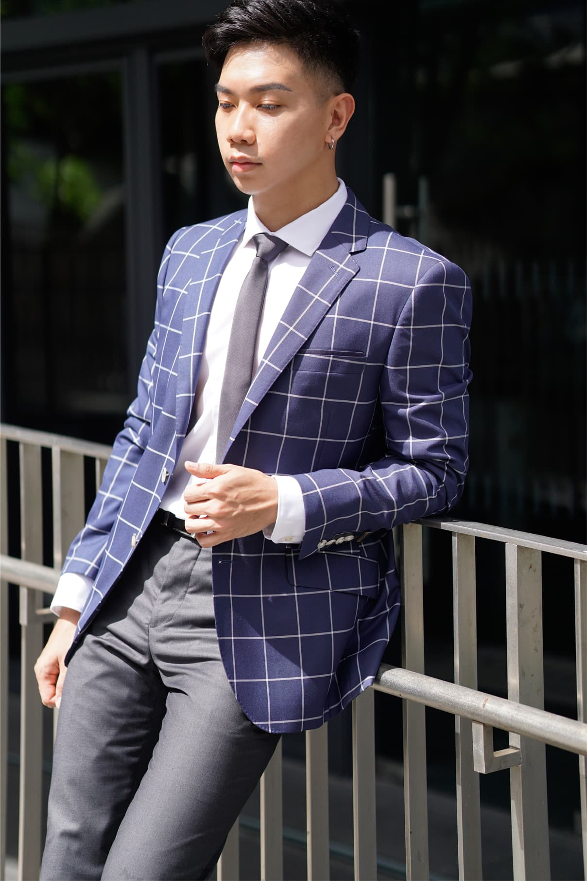 blue graph checks blazer