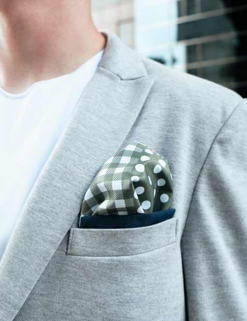 Grey Knitted Blazer with Polka Dots & Checks