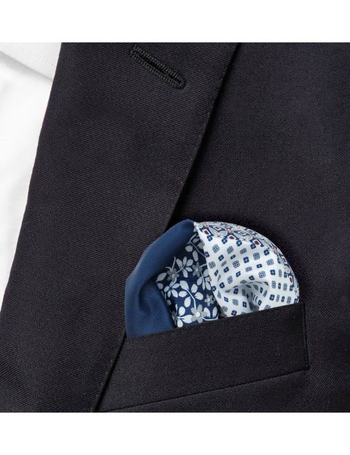 4-in-1 Blue Print Woven Pocket Square - PSQ34.14