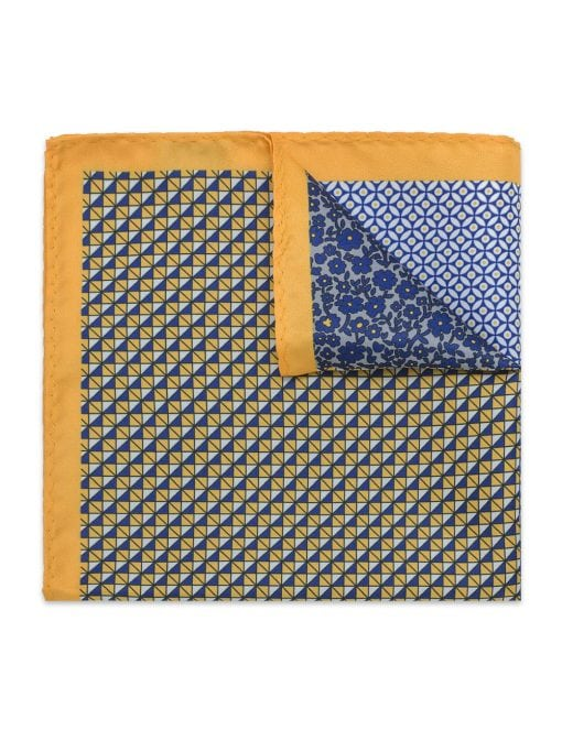 4-in-1 Yellow Print Woven Pocket Square – PSQ37.14
