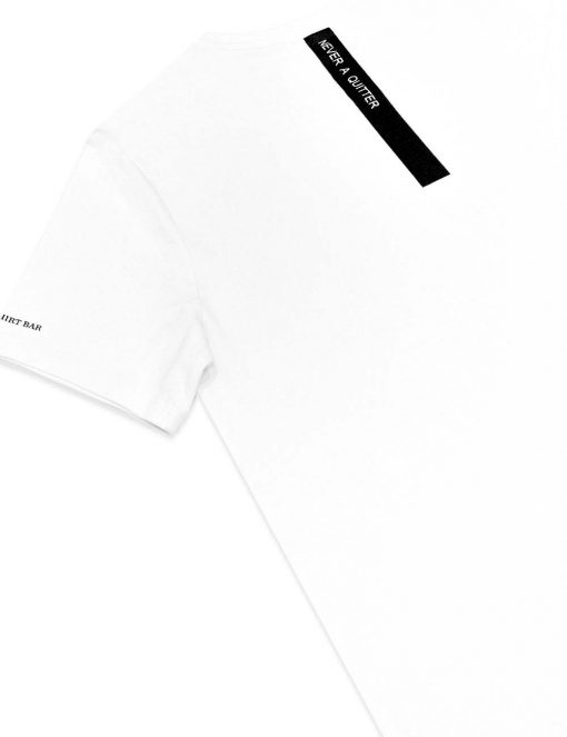 """Never A Quitter"" White Crew Neck Slim Fit T-Shirt - TS4A2.3"