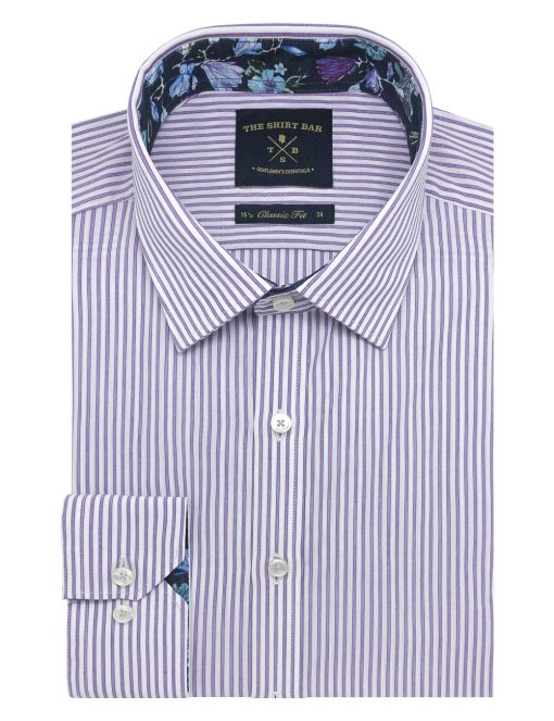 White and Purple Stripes Spill Resist Modern / Classic Fit Long Sleeve Shirt With SG Inspired Contrast - CF2A41.20