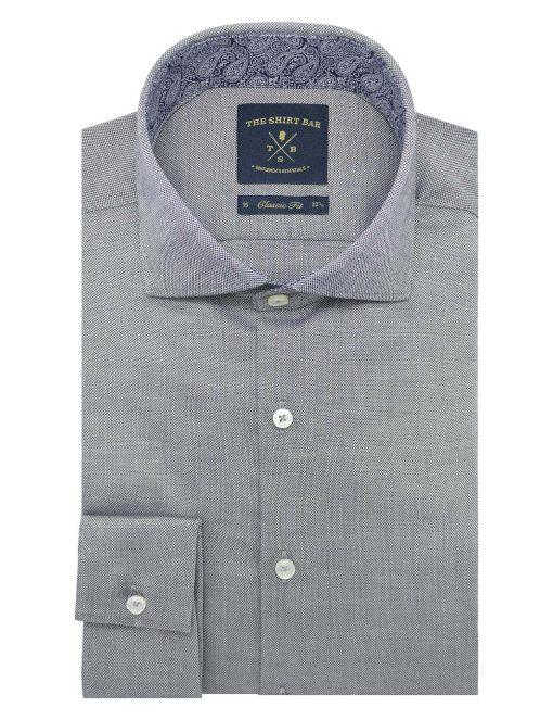 Black Dobby Easy Iron Double Cuff Modern / Classic Fit Long Sleeve Shirt – CF3D6.20