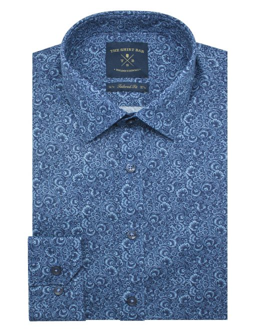 Blue Floral Print SG Inspired Slim / Tailored Fit Long Sleeve Shirt – TF2A1.21