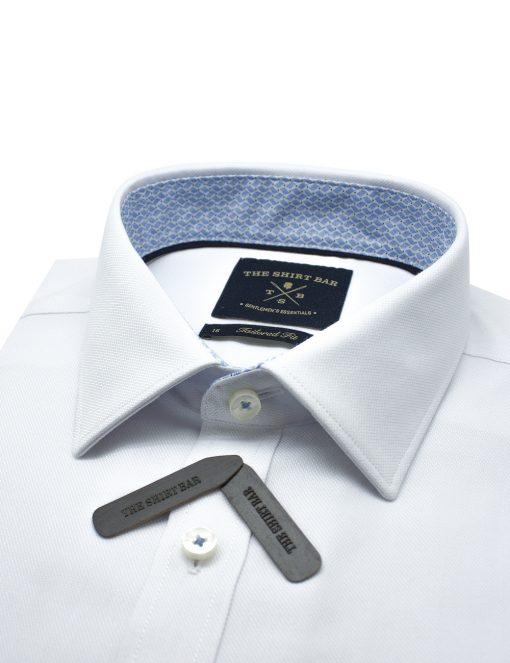 Solid White Eco-ol Bamboo Slim / Tailored Fit Long Sleeve Shirt – TF2A3.21