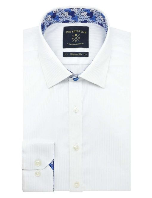 Solid White Stripes Wrinkle Free 2 Ply Slim / Tailored Fit Long Sleeve Shirt – TF2A14.20