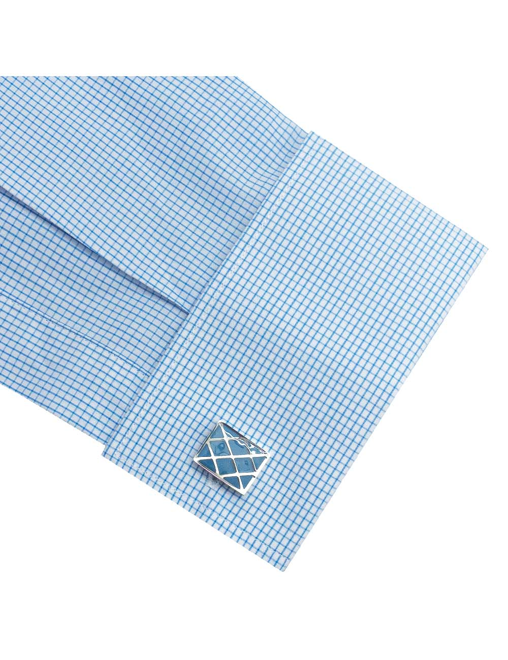 White With Blue Checks Double Cuff Slim / Tailored Fit Long Sleeve Shirt – TF3D4.20