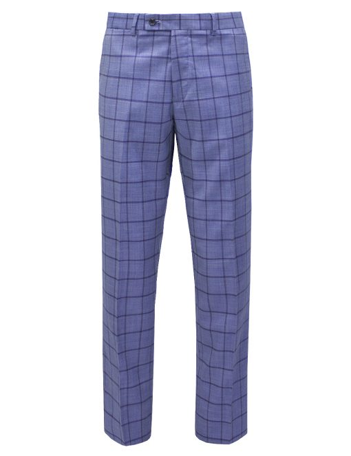 Light Blue Checks Slim / Tailored Fit Single Breasted Suit Set - SS2.4