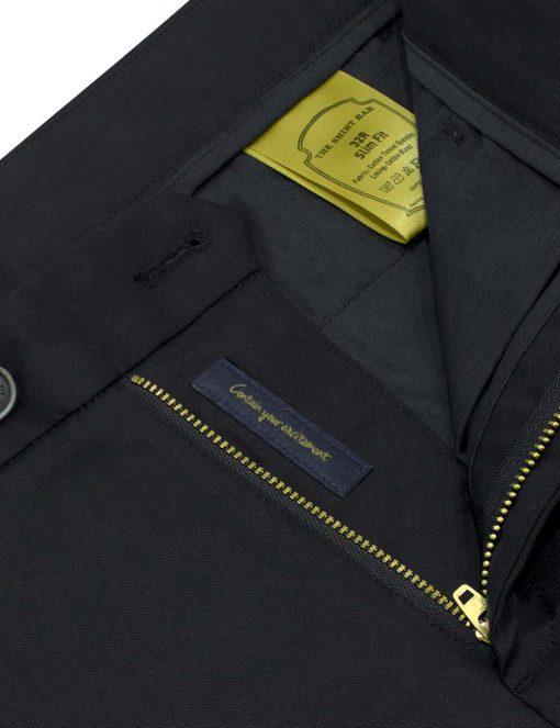 Slim Fit Black Tencel Casual Pants - CPSFA7T.3