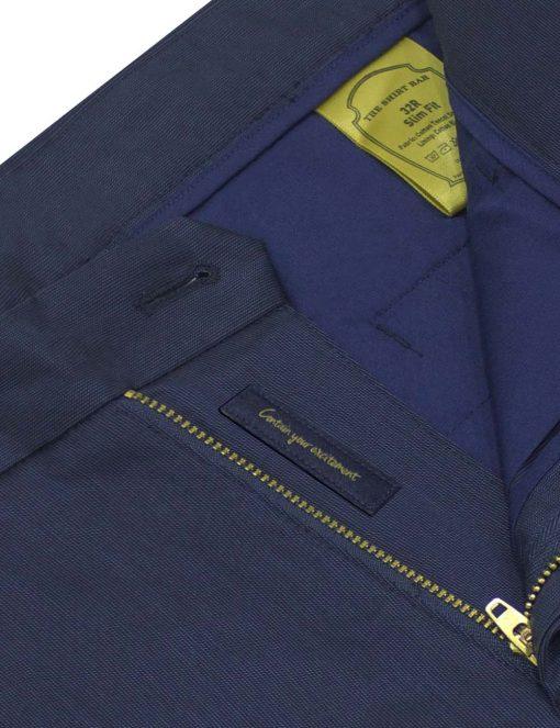 Slim Fit Navy Micro Print Tencel Casual Pants - CPSFA3T.3