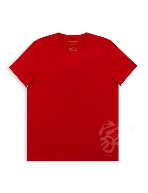 'Home' Red Cotton Stretch Crew Neck Custom Fit T-Shirt - TS4A1.4