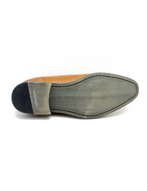 Tan Leather Oxford Cap Toe Shoes - F2A19.1
